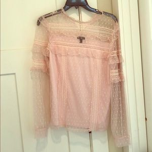 Express ruffle pink lace top